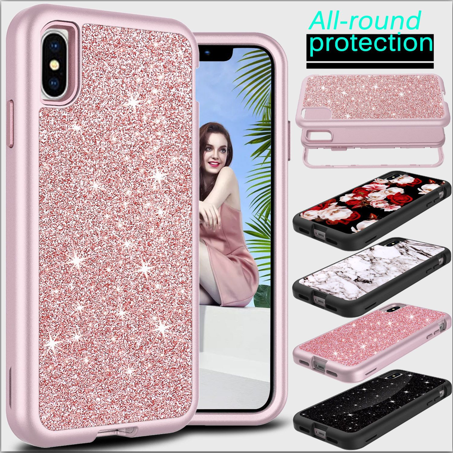 For apple iphone xs max xr luxury shockproof glitter