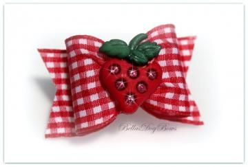 Red Gingham Bow with Matching Flags. Embellished with a Deliciously Sweet Strawberry with Sparkle Seeds. by BellasDogBows for $5.99
