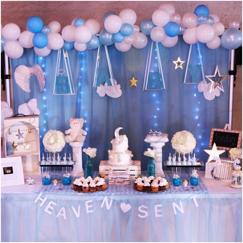 Elegant Heaven Sent Baby Shower Theme For Boy Baby Shower