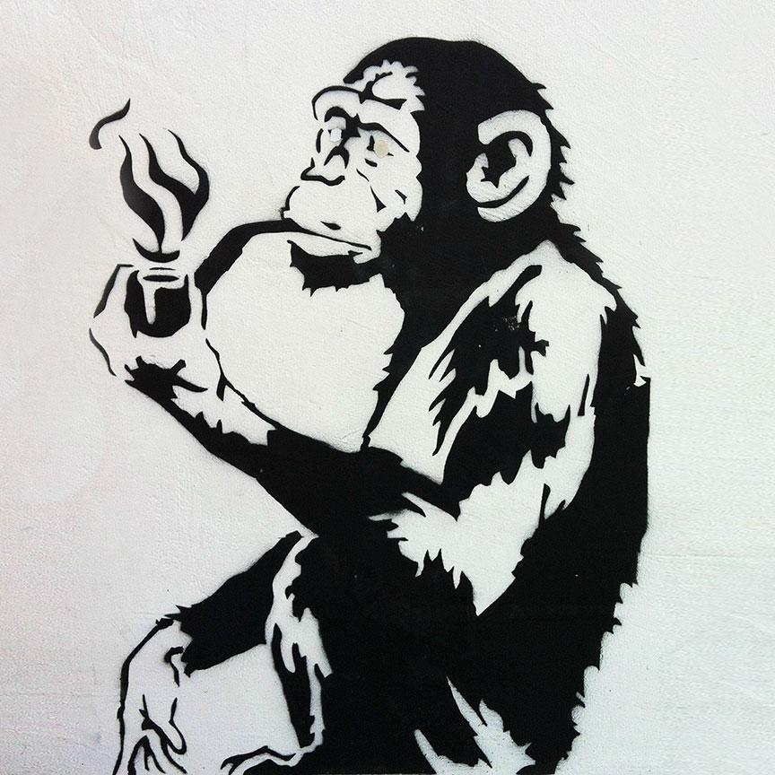 Banksy Smoking Monkey – Graffiti Street Art – Photo Printed on Metal