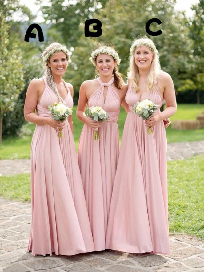 Pink Bridesmaid Dress Different Style Chiffon Long Bridesmaid ...
