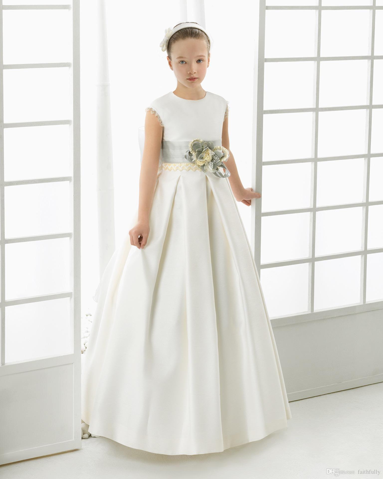 new arrival flower girls dresses for wedding capped sleeves