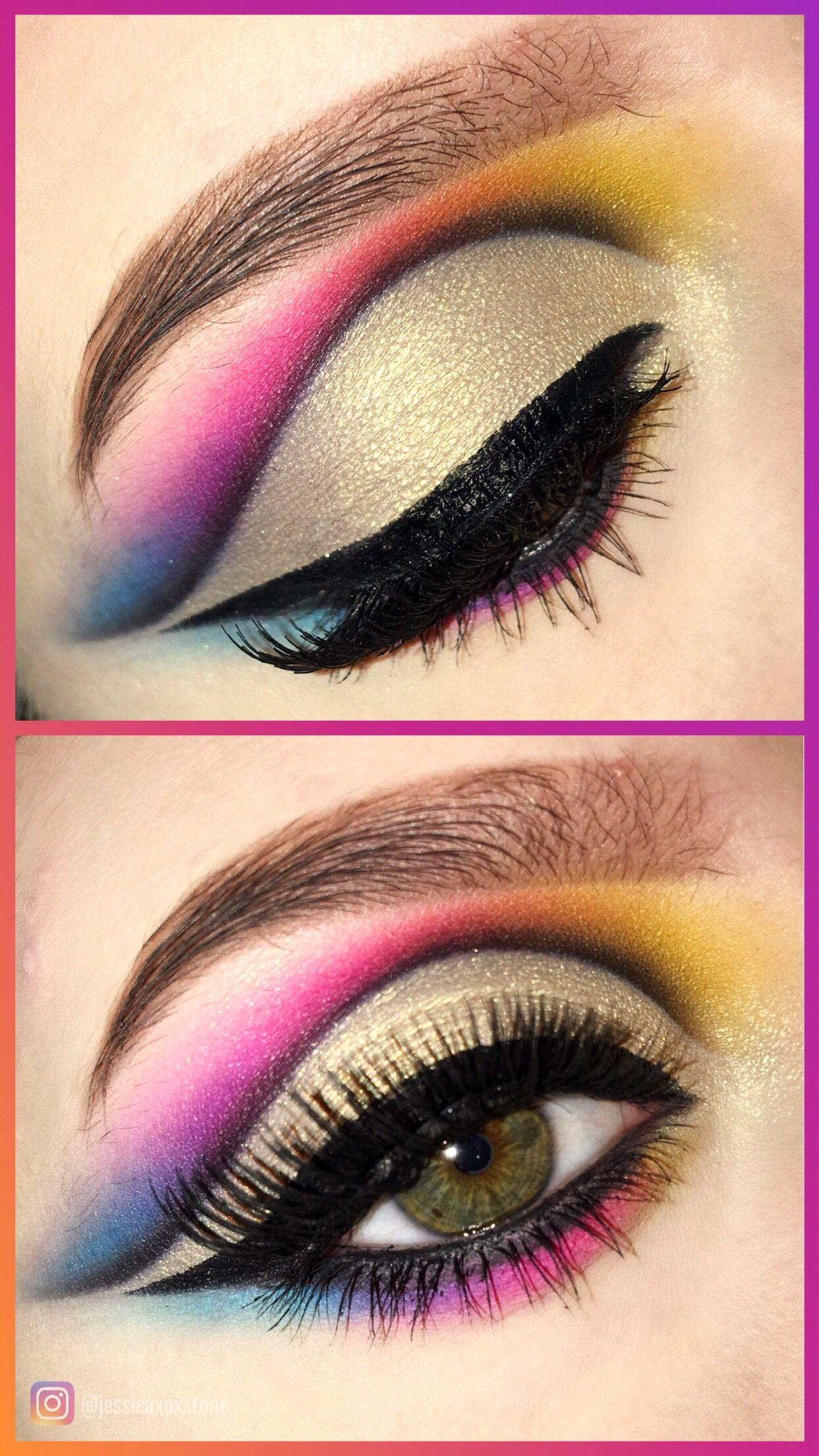 Rainbow Cut Crease Eyeshadow Look M A K E U P B E A U T Y In