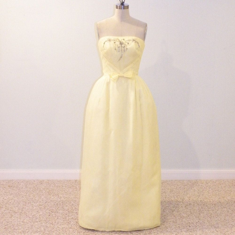 Prom Dress Yellow Strapless 60s Formal