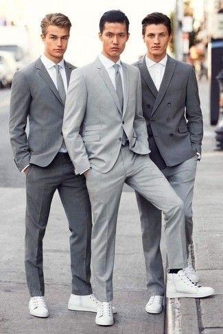 Considera ponerse un traje gris y una camisa de vestir blanca para un  perfil clásico y refinado. Zapatillas altas de cuero blancas añadirán  interés a un ... e8fa6d5bb80