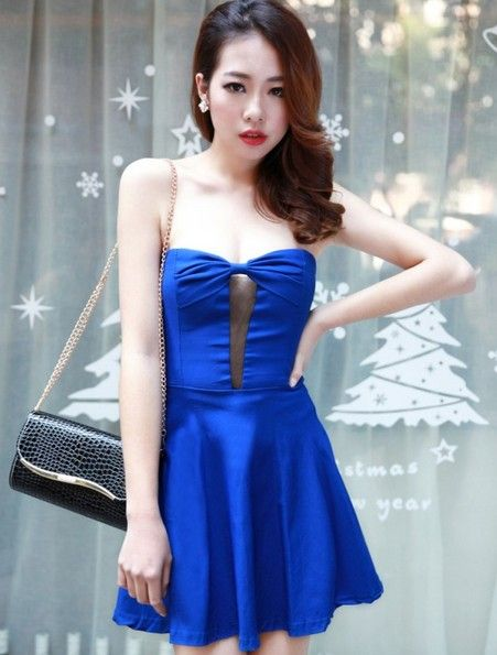 Korean Style Bowknot Slim Waist Dress @Cheap Korean Wholesale ...