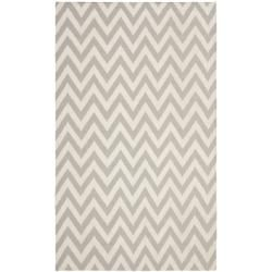 Chevron Dhurrie Grey Ivory Wool Rug 8 X