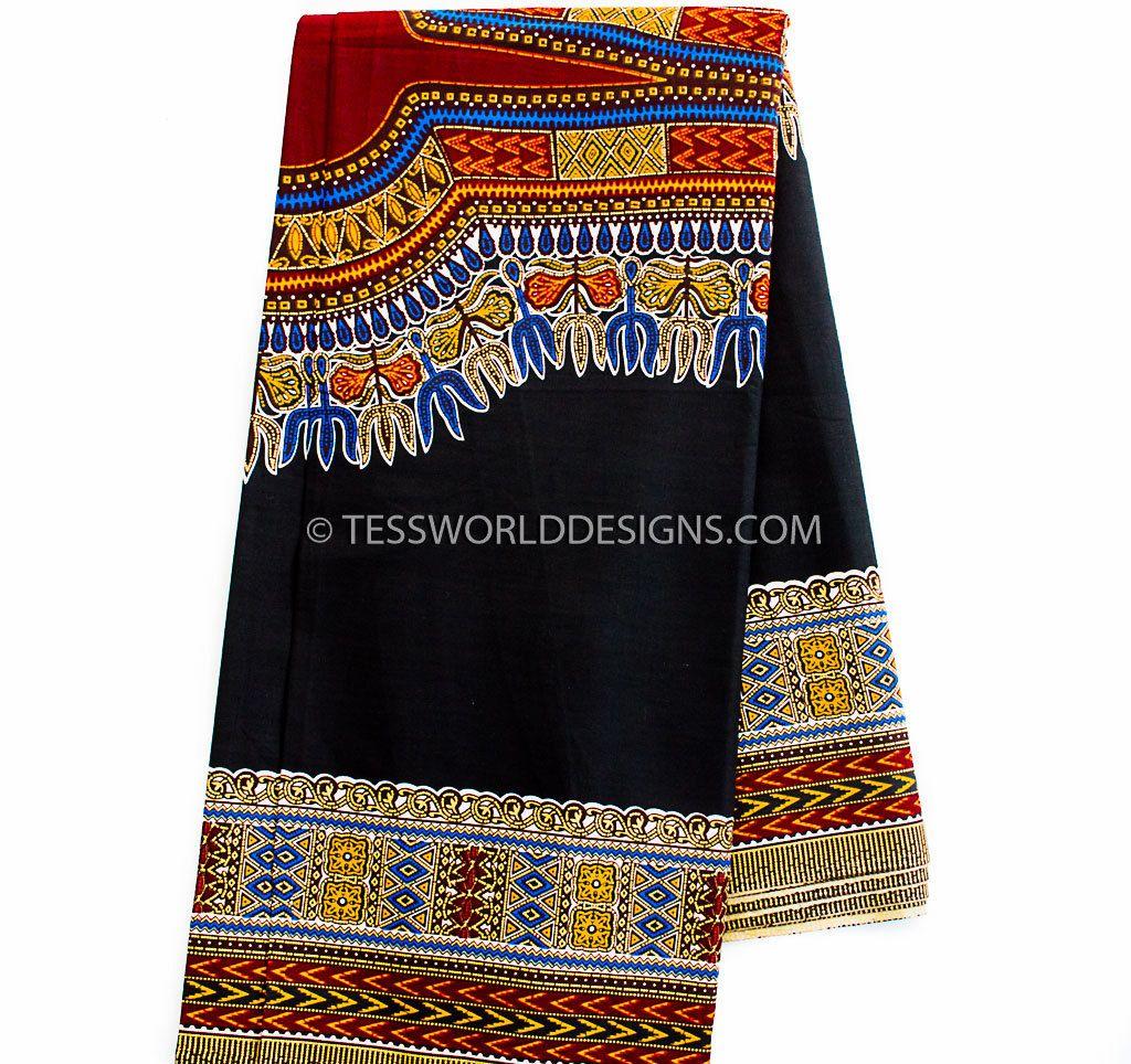 Soft black Dashiki fabric sold per panel/ African dashiki/ Smooth Super quality…