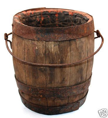 Antique Cir 1860 S Civil War Era Paint Can Wooden Keg