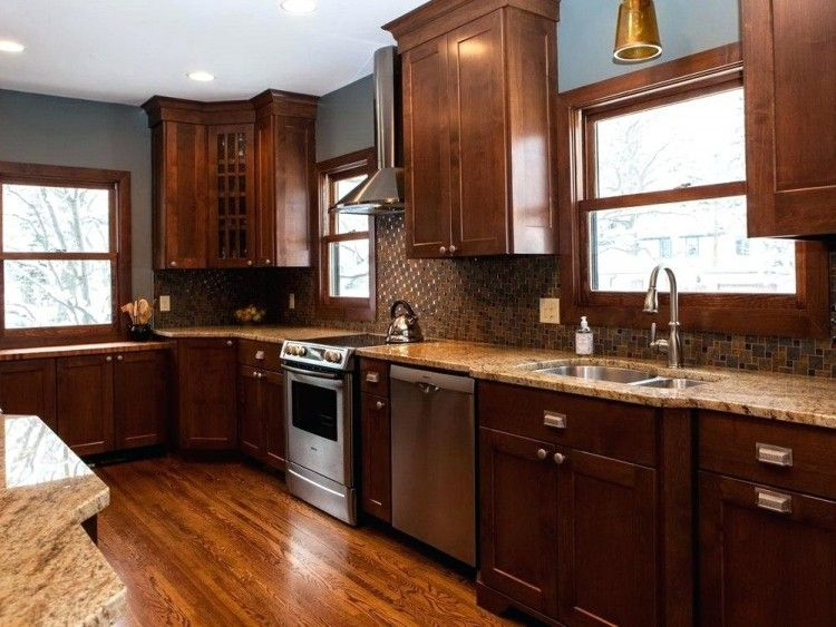 Kitchen Ideas With Brown Cabinets | Kitchen cabinet color ...
