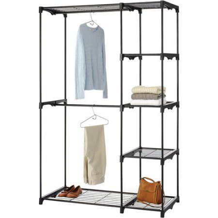 Buy Whitmor Tall Deluxe Double Rod Closet, Black At Walmart.com