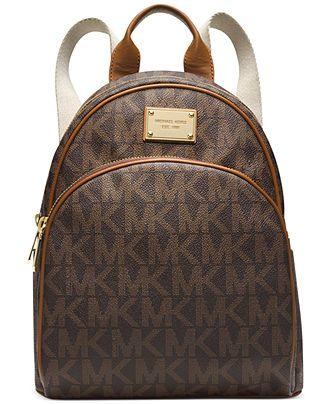 069da9f08010 Michael Kors Large Backpack Book Bag Monogram MK PVC Leather Bag Purse  school