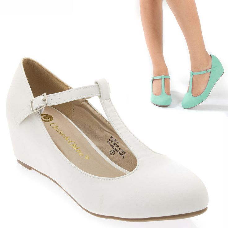 Lady White T Strap mary Jane Med Low Hidden Wedge Heel Ballet Flat Pump US  9 in Clothing, Shoes & Accessories, Women's Shoes, Heels