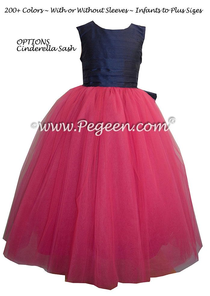 2aadd14e63d Shock (hot pink) and Navy Blue silk and tulle Flower Girl Dresses by Pegeen .com
