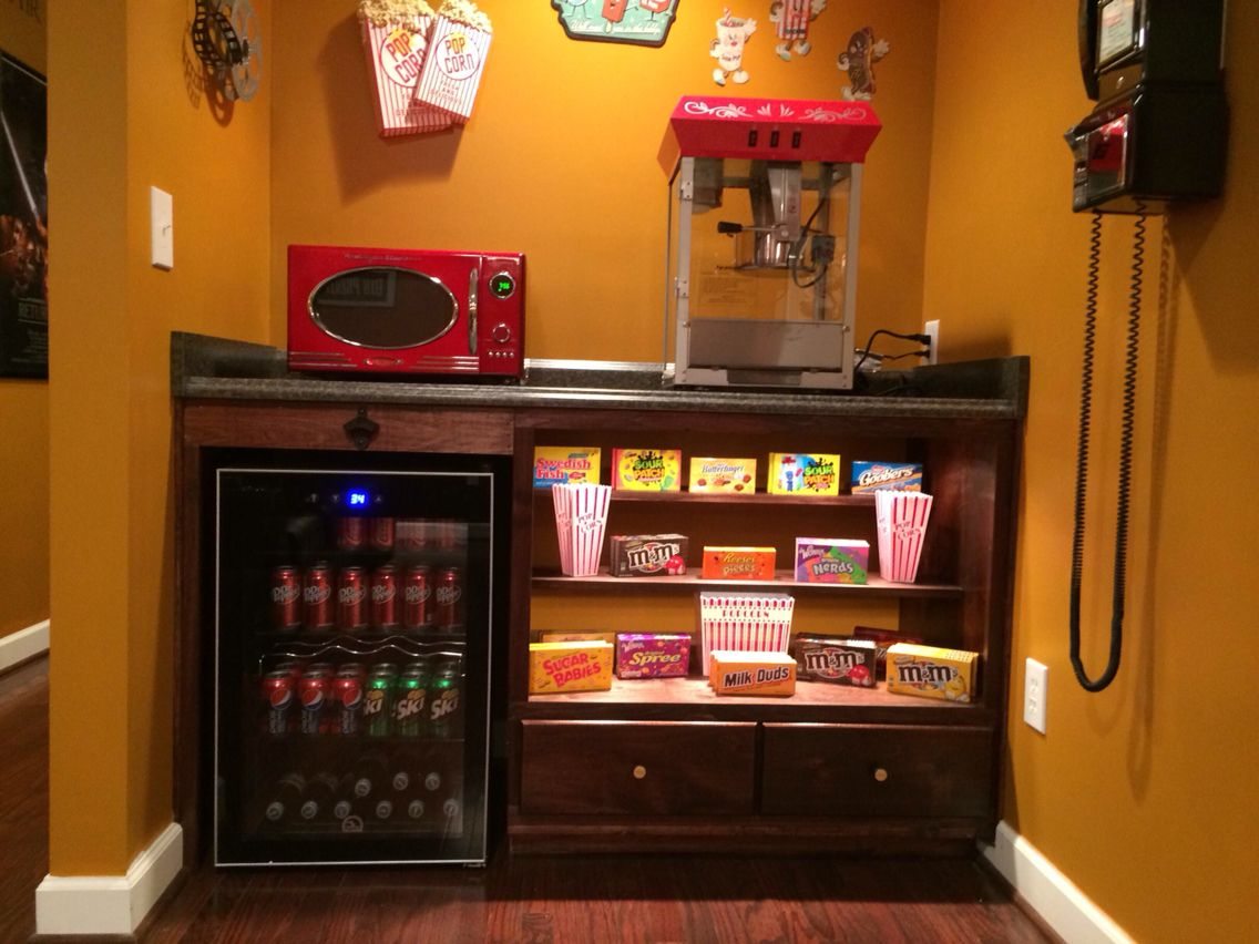 our home theater's concession stand. | home theater | pinterest