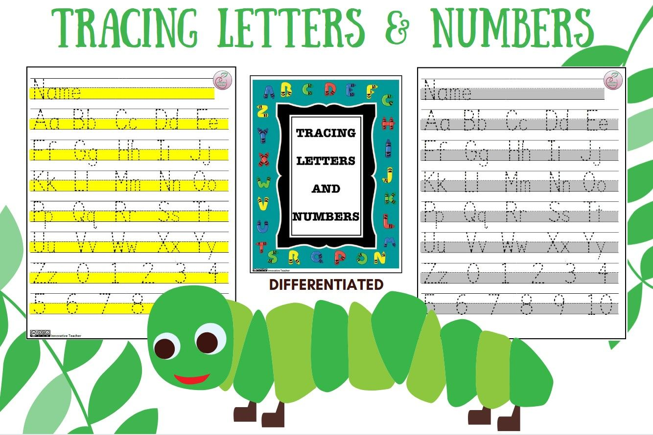 Tracing Letters And Numbers Worksheet Differentiated