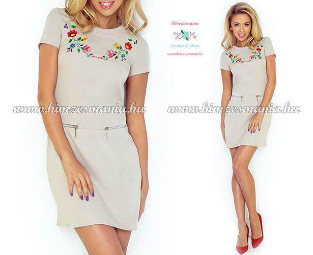 Beige színű női ruha kalocsai hímzéssel  gt  http   himzesmania.hu  a8577f5dca