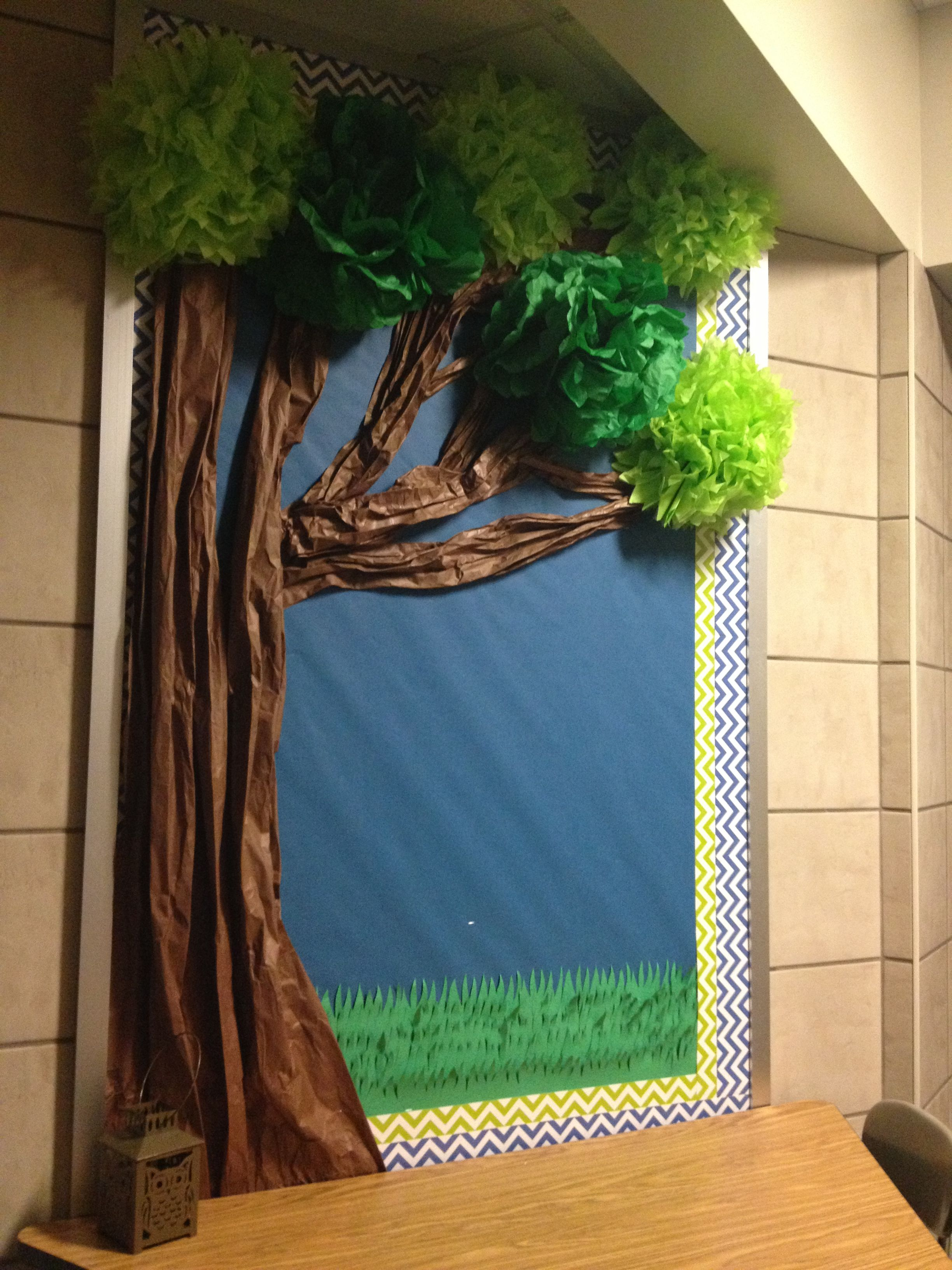Year Long Bulletin Board Trunk Made From Brown Butcher Paper Leaves Made From Tissue Classroom Tree Paper Tree Classroom Classroom Bulletin Boards Reading