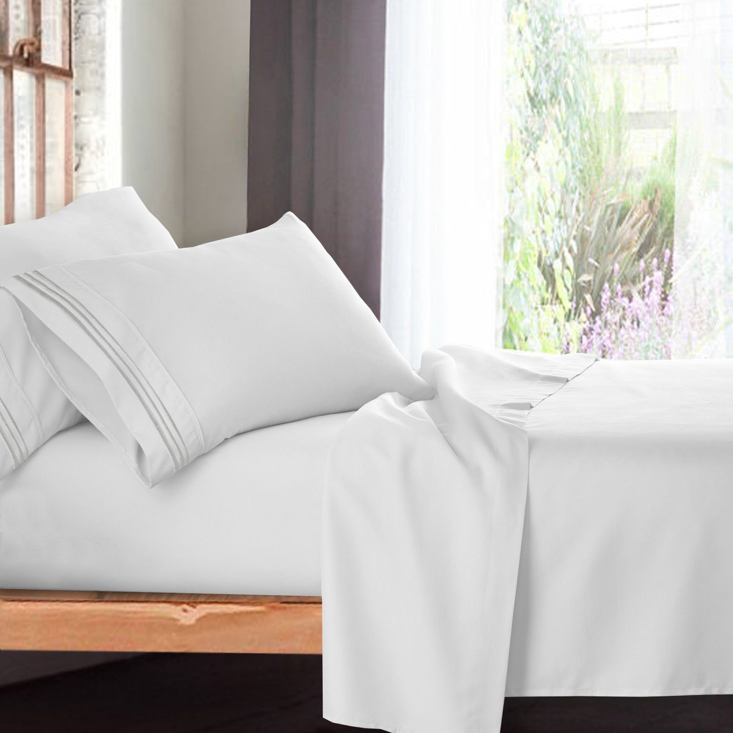 Premium King Sheets Set White Hotel Luxury 4piece Bed Set Extra Deep Pocket Special Super Fit Fitted Sheet Best White Sheets King Sheet Sets King Size Sheets