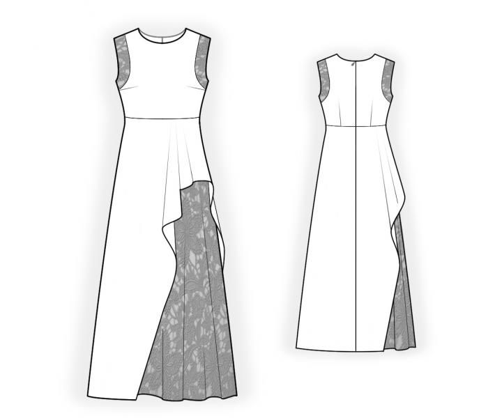 Dress With Lace Skirt - Sewing Pattern #4459 Made-to-measure sewing ...