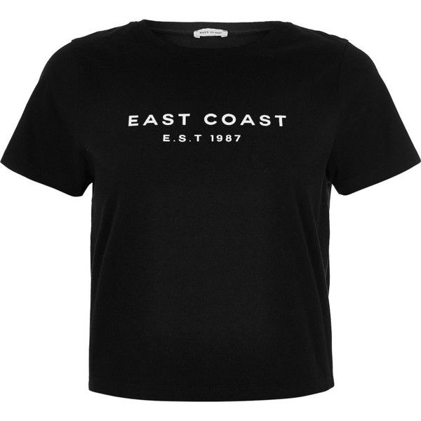 River Island Black East Coast t-shirt ($20) ❤ liked on Polyvore featuring tops, t-shirts, black, short sleeve t shirt, print tee, river island, short sleeve crew neck tee and crew t shirt