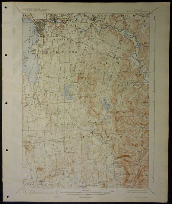 1936 Large Original Antique Topographic Map Burlington VT Vermont