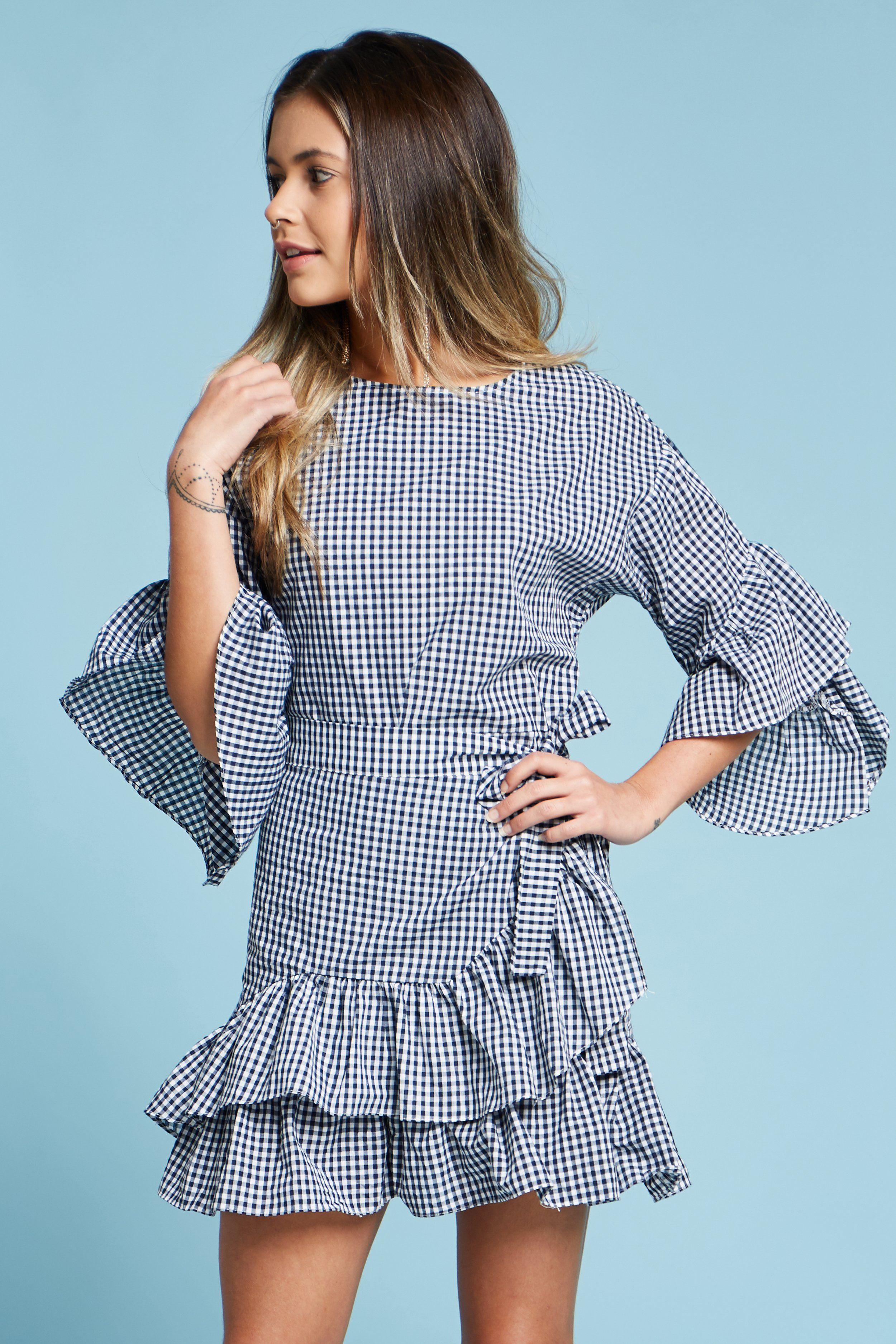Checkered wrap tie mini dress mini dresses and products