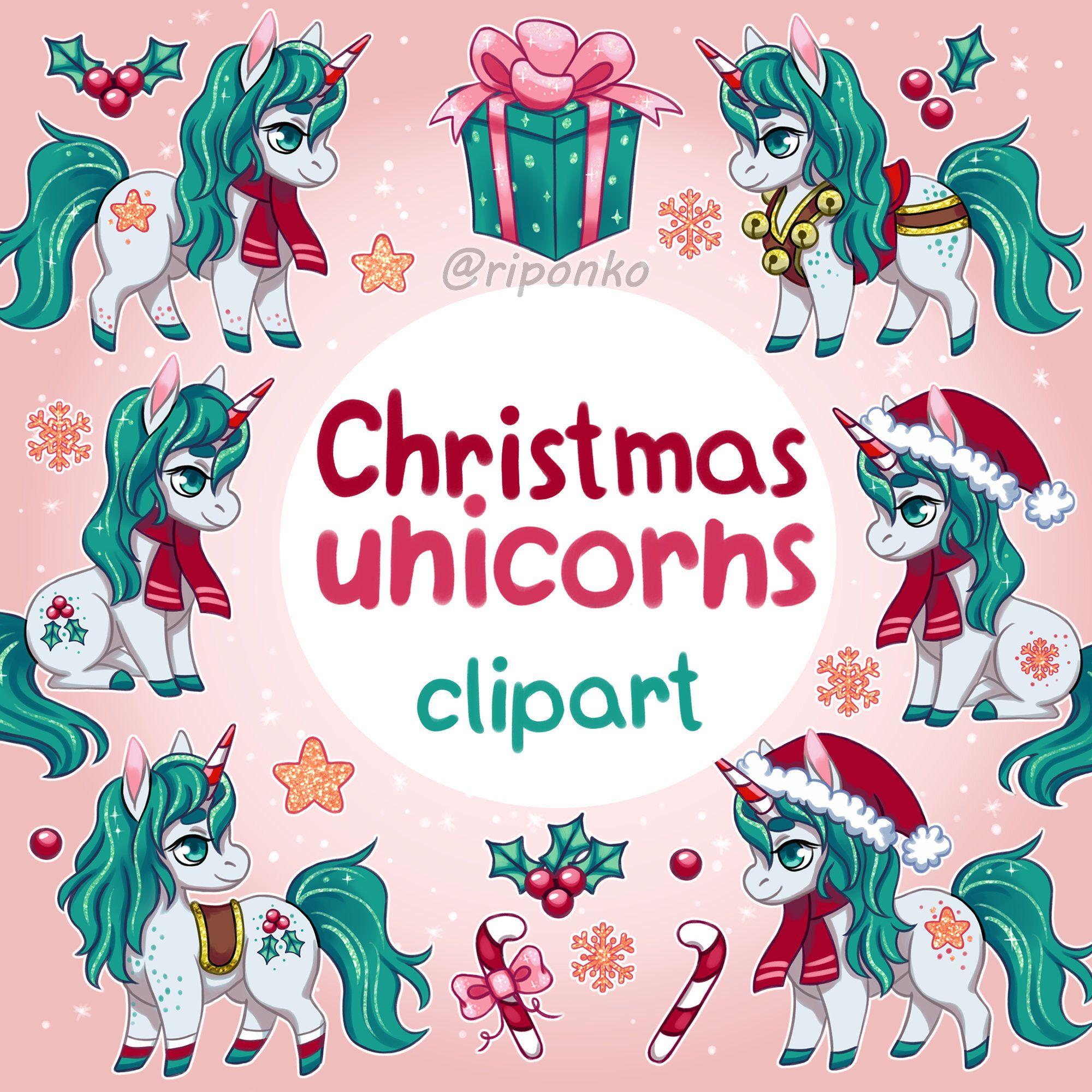 Christmas Unicorn clipart, Christmas clipart, Winter ... (2000 x 2000 Pixel)