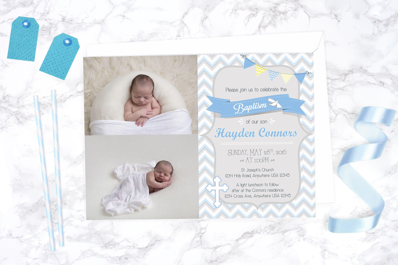 boy baptism invitation personalized christening invite printable
