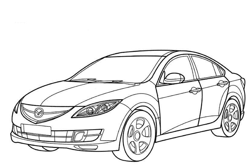 Gambar Sketsa Mobil Sedan Nochnik Mazda Risunok