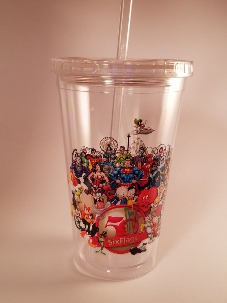 Six Flags 50th Anniversary 20 Oz Travel Tumbler Cup New Screw Top Lid Straw Tumbler Cups Six Flags 50th Anniversary