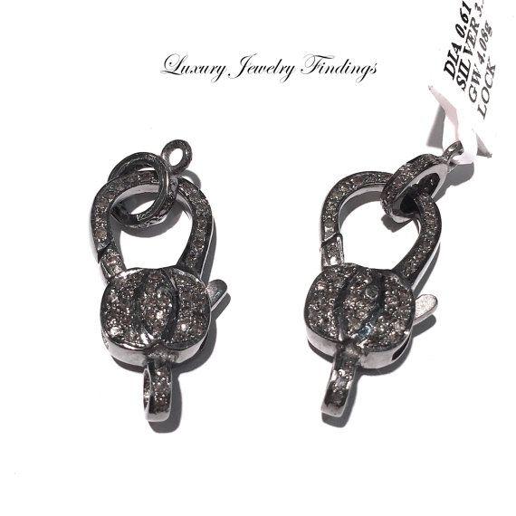 Diamond Bail / Lock Silver Clasp Lobster by LuxuryJewelryFinding