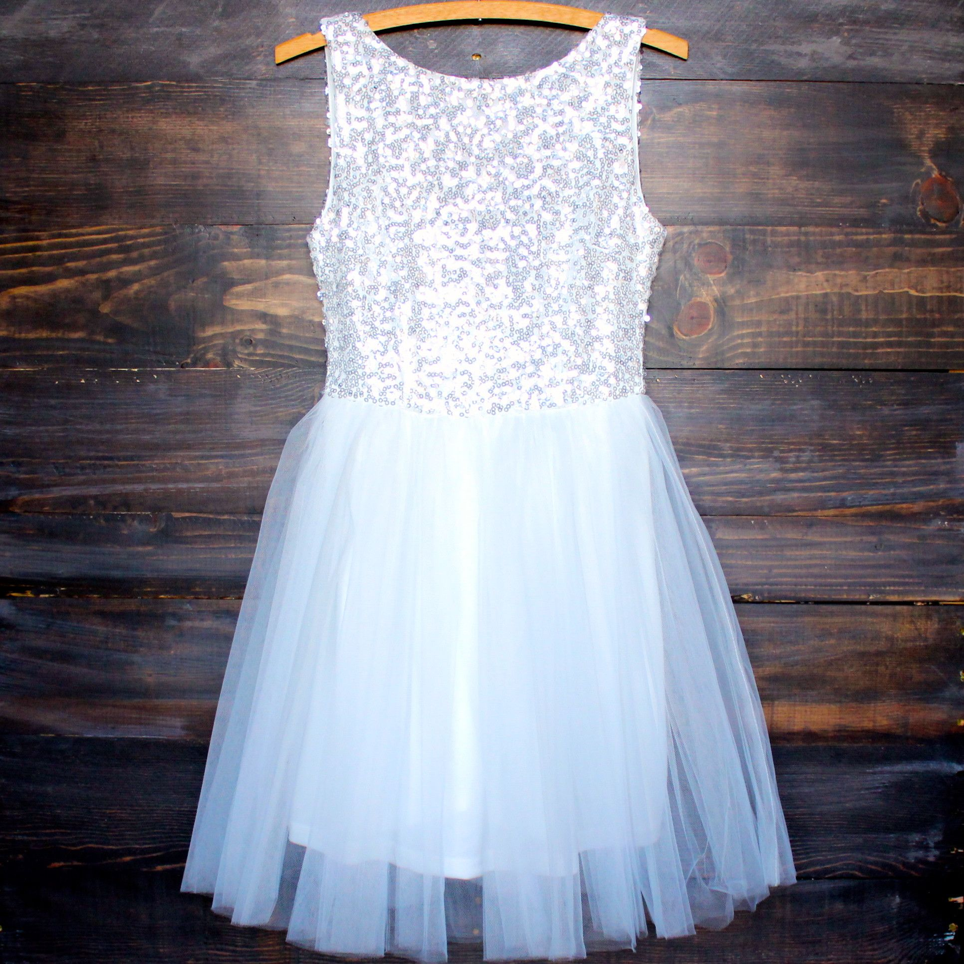 Sugar Plum Dazzling White Sequin Darling Party Dress Dance Shops