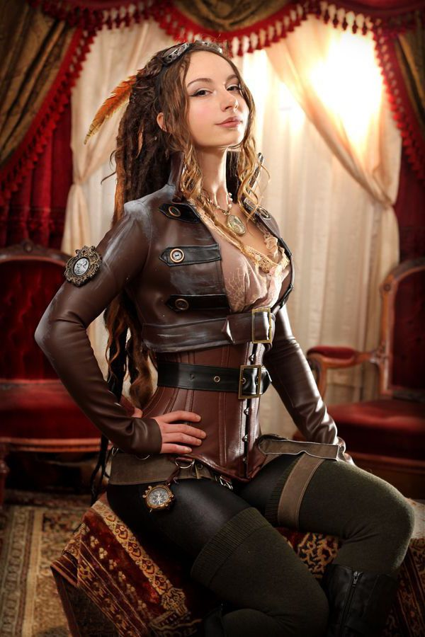 Naked steampunk girl