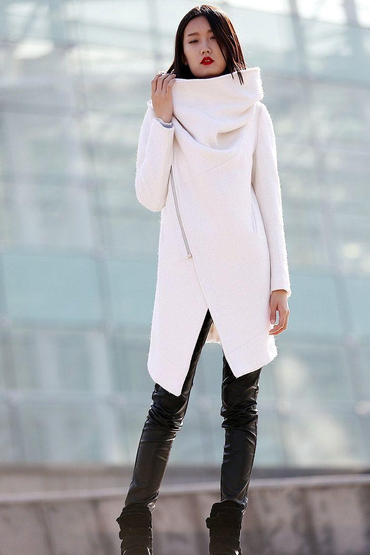 Winter White Wool Coat Modern High Collar Cowl Neck Warm