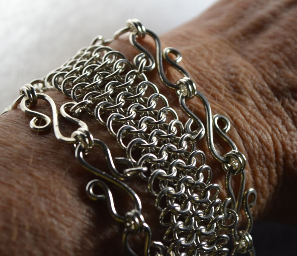Sterling silver chainmaille plus s links solid sterling heavy clasp