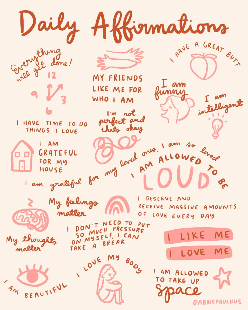 Daily Affirmations Art Print mantras encouragement