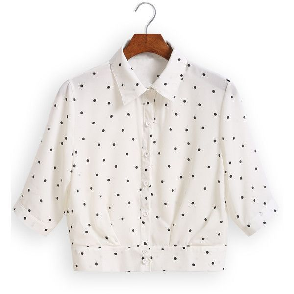 Lapel Polka Dot Crop Top ($17) ❤ liked on Polyvore featuring tops, shirts, crop top, blusas, white, elbow sleeve shirt, collared shirt, white shirt, elbow length sleeve tops and white collared shirt