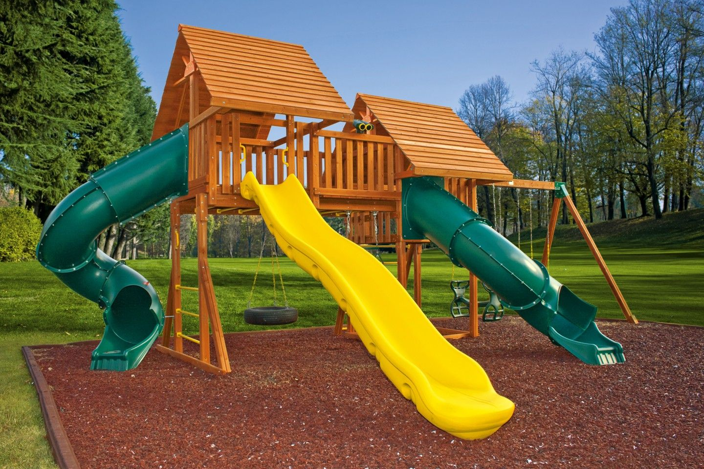 fantasy 7 wooden playset jungle gym backyard playground and