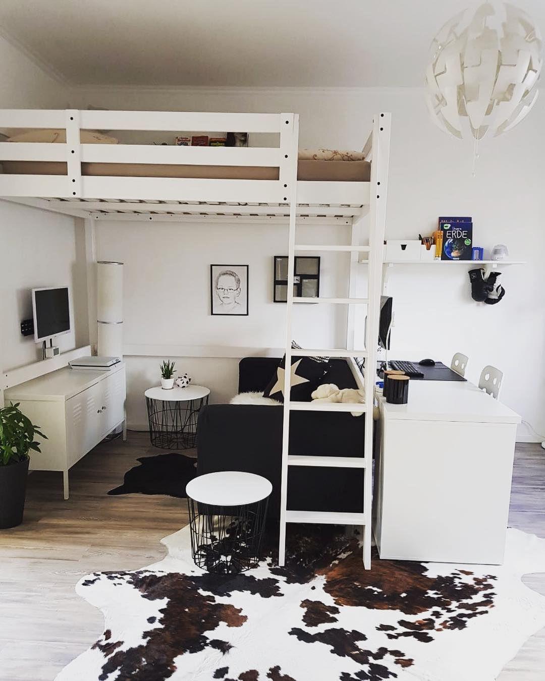 """Sibylle@home on Instagram: """"Jugendzimmer. Neu gestaltet....Mein Junge von 12 Jahren freut sich wie Bolle...#jugendzimmer #ikea #kinderzimmer #hochbett #kuhfell…"""""""