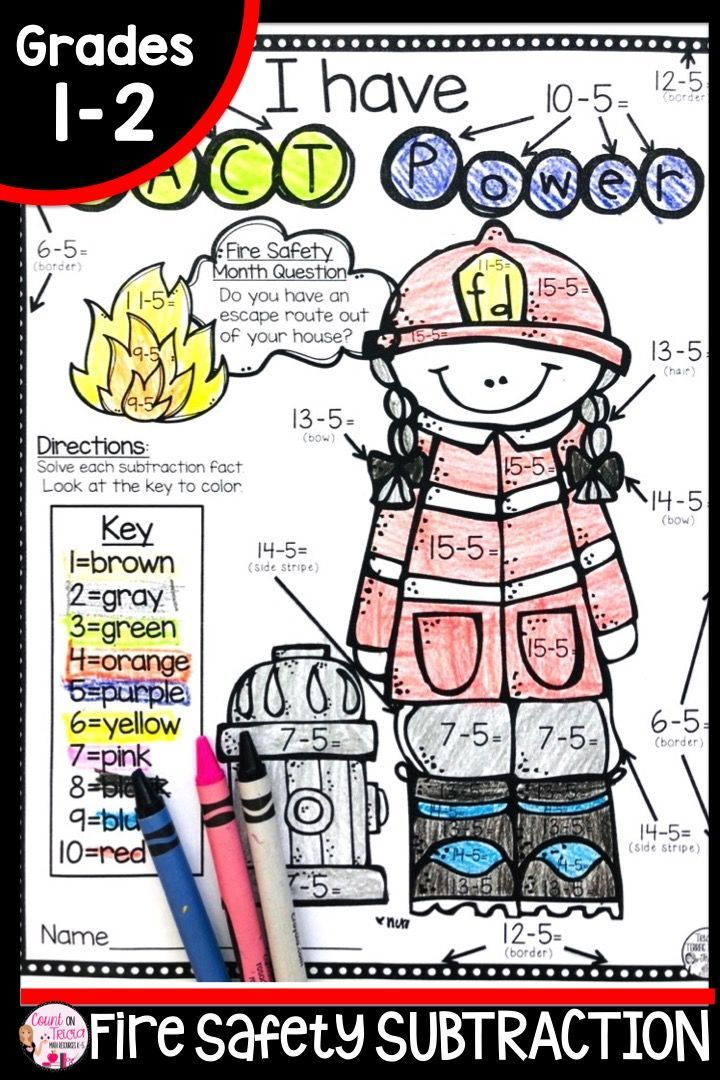 Fire Safety Coloring Page Fire safety, Second grade math