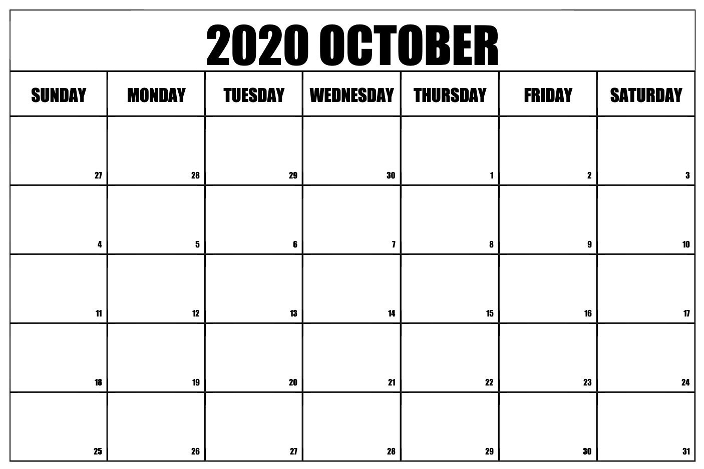 Free Printable October 2020 Calendar Template Pdf Word Excel