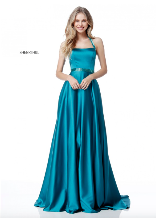 SHERRI HILL 51646 Spring 2018 Collection YPSILON DRESSES Teal Flowy Dress  with Simple Beading Prom Pageant Homecoming Sweethearts Evening Gown Talent  Dress ...