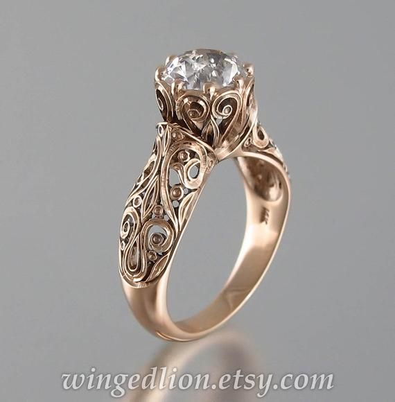 The ENCHANTED PRINCESS White Sapphire 14K rose gold engagement ring size 7.5 Ready to Ship others ma
