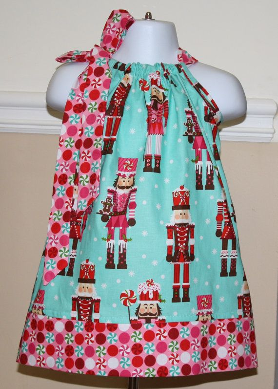 Nutcracker Pillowcase Dress Christmas Aqua Blue Pink
