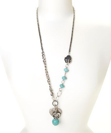 Another great find on #zulily! Silver & Turquoise Heart Bauble Necklace #zulilyfinds