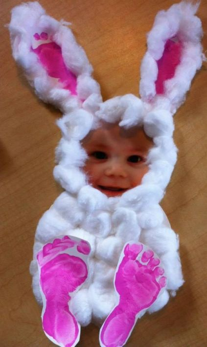 Easy Easter Craft - Cotton Balls, Footprints and your Kids Picture