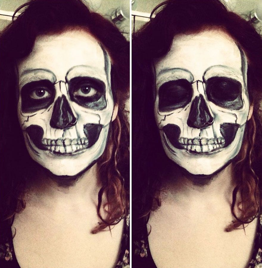 I Use Face Paint To Turn Myself Into Dark Or Strange Characters Paintingsideas