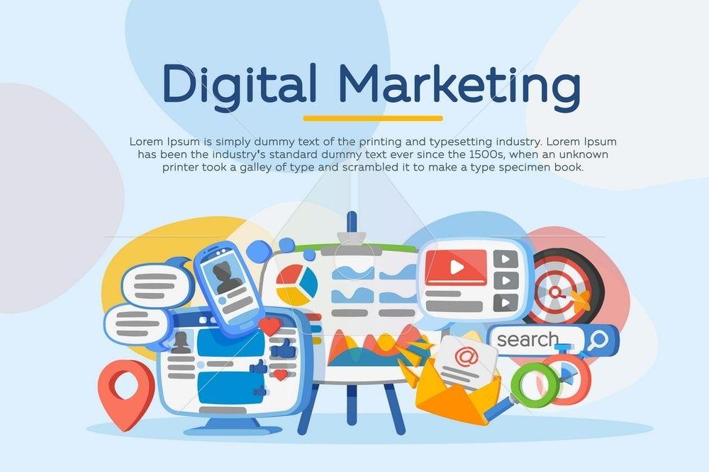Business analysis. Digital marketing concept. Vector ...