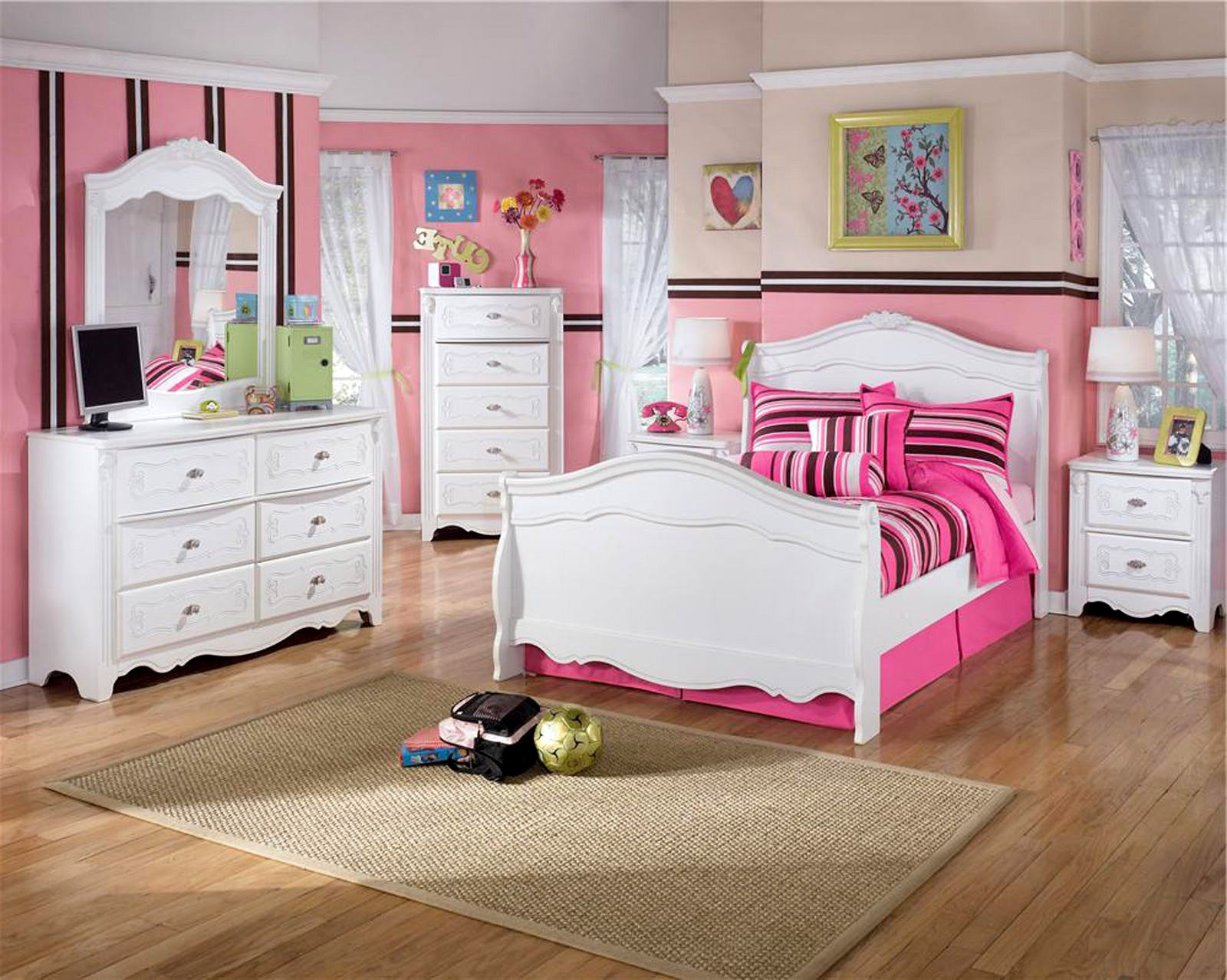 Girly Twin Bedroom Set Idea with Pretty White Sleigh Bed and Two ...